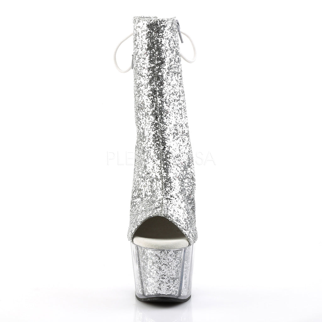 Silver Glitter Ankle High Boots Platform Stripper Sexy Exotic Dancing High Heel