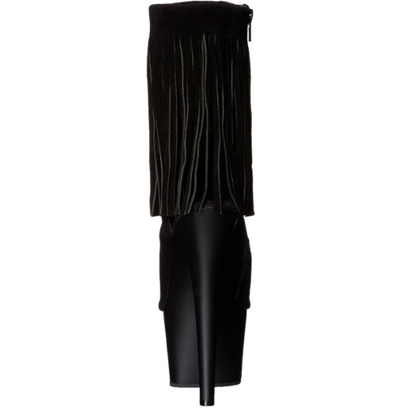 Black Suede High Heel Stiletto Ankle Boot Platform OpenToe Fringe Exotic Pleaser
