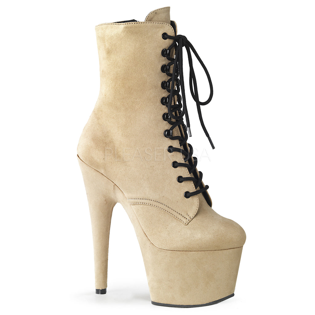 Beige Faux Suede  Womens Ankle Boot Exotic Dancing High Heel Stiletto Platform
