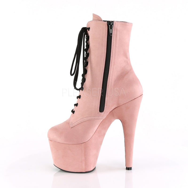 Baby Pink Faux Suede Womens Ankle Boot Exotic Dancing High Heel Platform Shoes