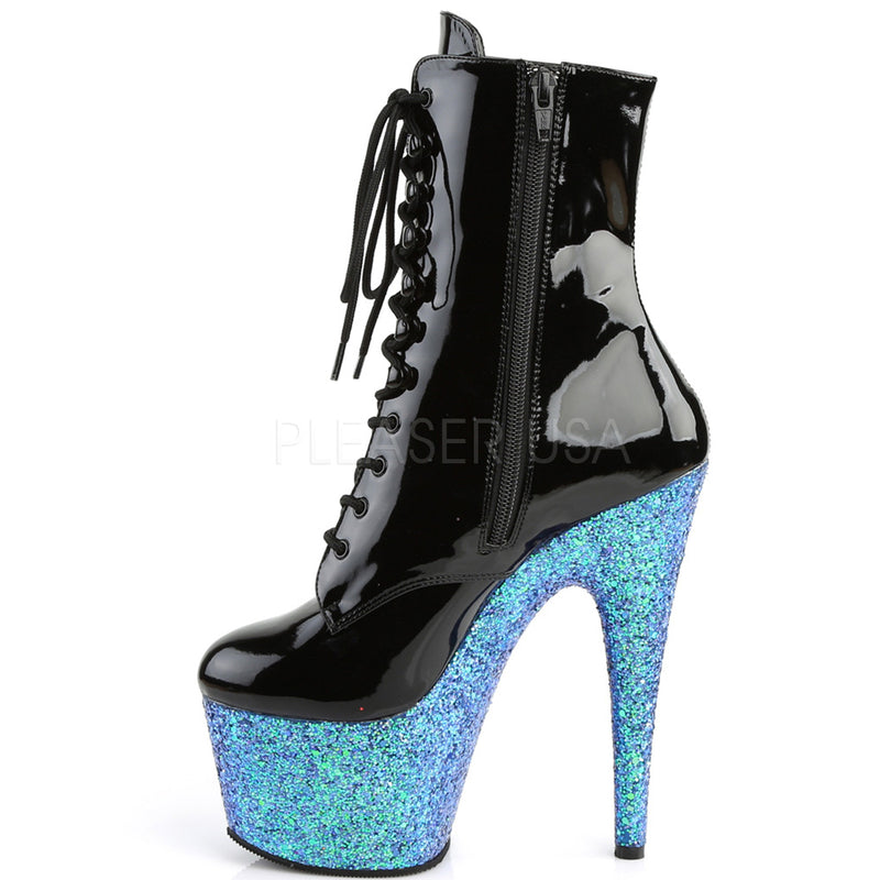 Blue Glitter Lace Up Ankle Boots Platform Stripper Sexy Exotic Dancing Clubwear