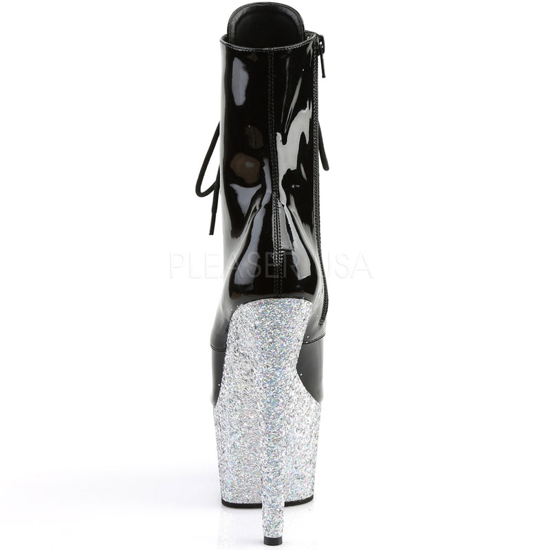Silver Glitter Lace Up Ankle Boots Platform Stripper Sexy Exotic Dancing Clubwear