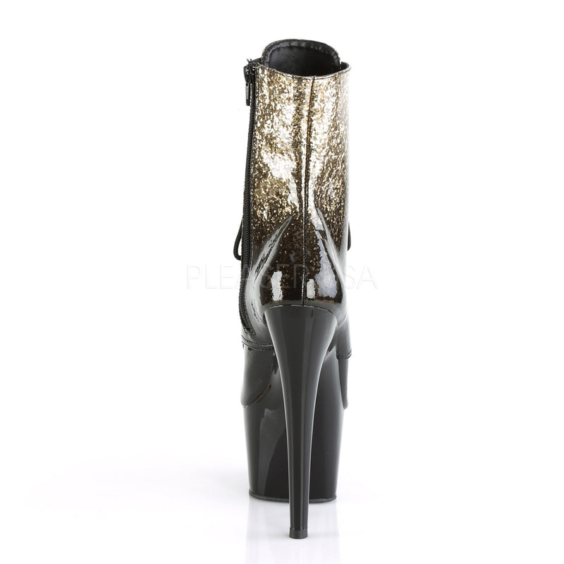 Gold Black Glitter Ombre Lace Up Ankle Boots Platform Stripper Exotic Dancing