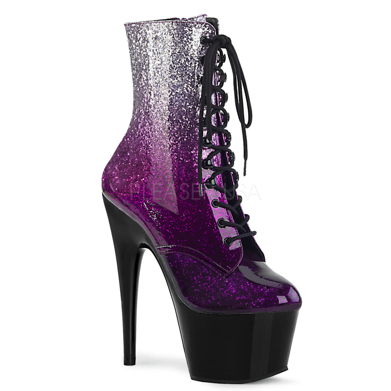 Silver Purple Glitter Ombre Lace Up Ankle Boots Platform Stripper Exotic Dancing