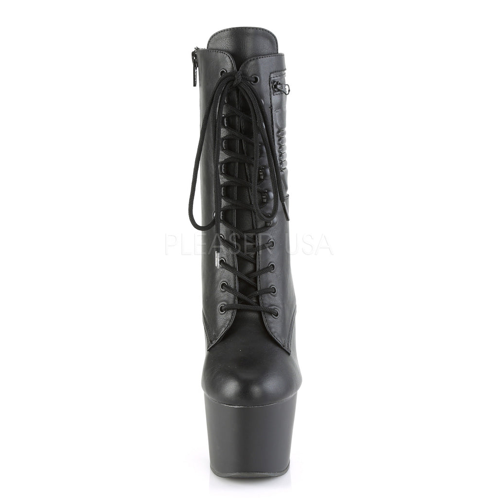 Black Matte Lace Up Ankle Boots Platform Stripper Exotic Dancing Pleaser Club
