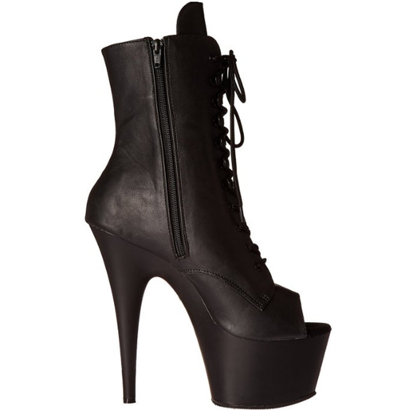 Black Matte Lace Up Open Toe Ankle Boots Platform Stripper Sexy Exotic Dancing