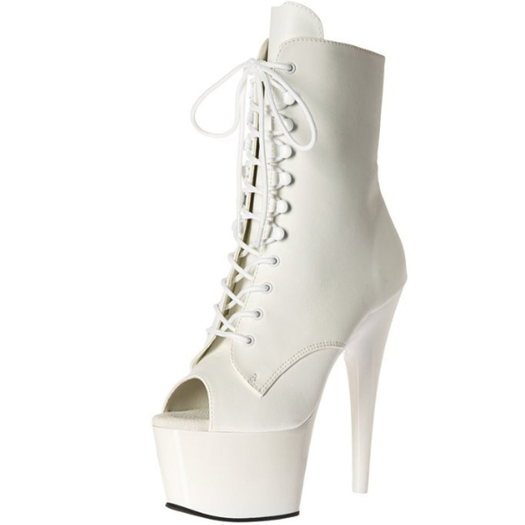 White Matte Lace Up Open Toe Ankle Boots Platform Stripper Sexy Exotic Dancing