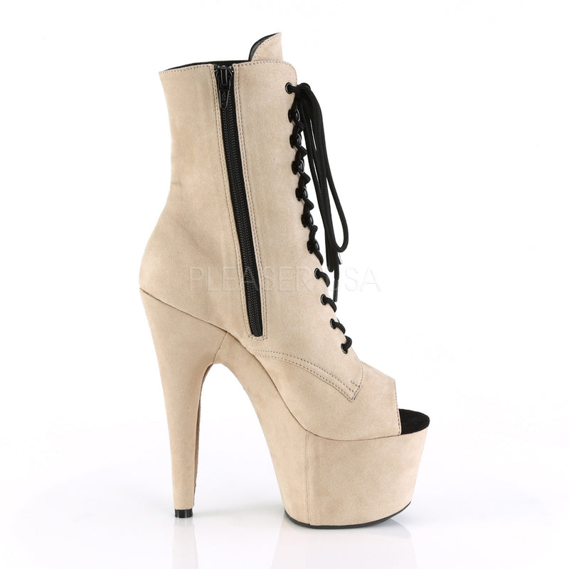 Beige Faux Suede Lace Up Open Toe Ankle Boots Platform Stripper Exotic Dancer