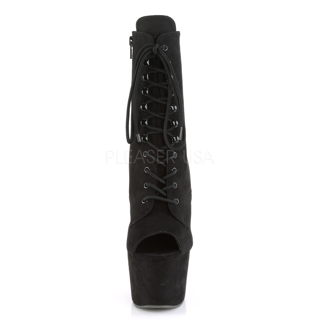 Black Faux Suede Lace Up Open Toe Ankle Boots Platform Stripper Exotic Dancer