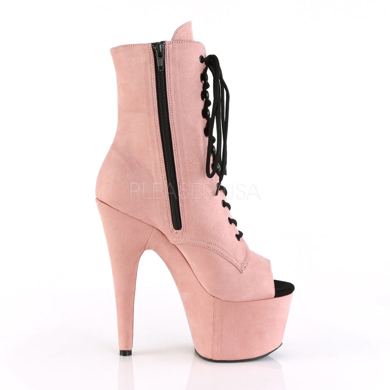 Baby Pink Faux Suede Lace Up Open Toe Ankle Boots Platform Stripper Exotic Dance