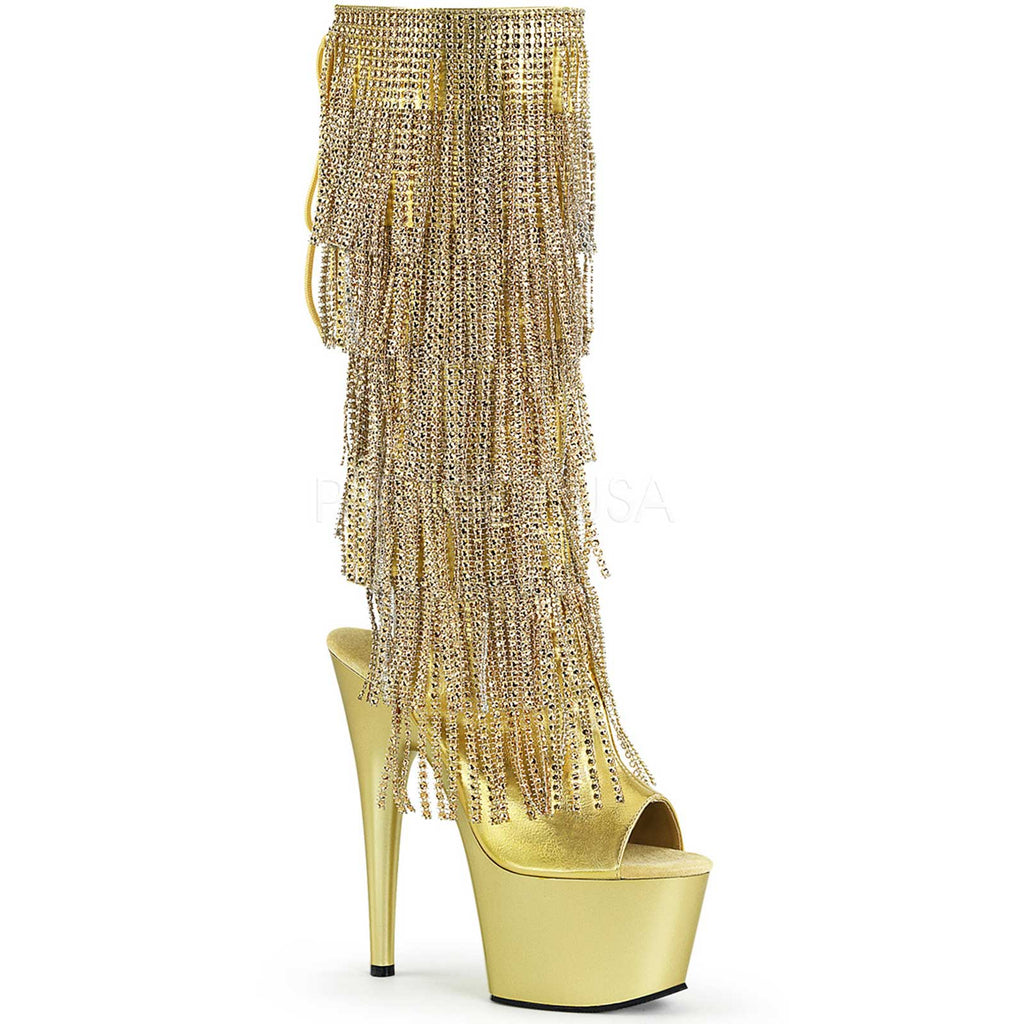 Gold Rhinestone Fringe Open Toe Knee High Boots Platform Stripper Exotic Dancing