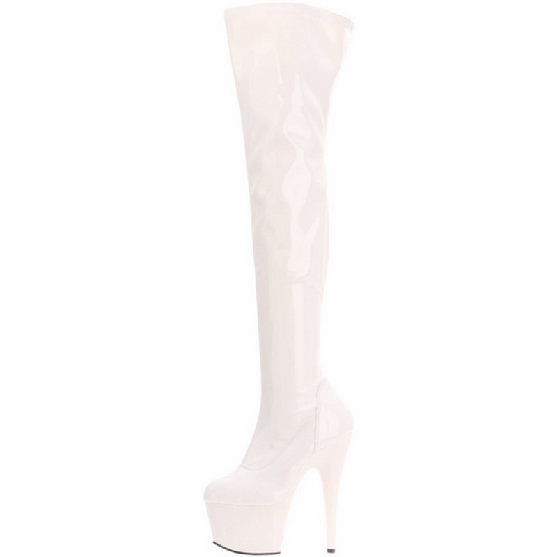 White Patent Stretch Thigh High Boots Platform Stripper Sexy Exotic Dancing Club