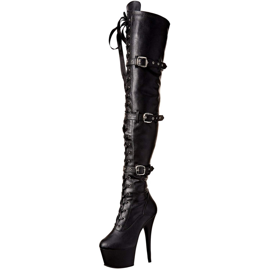 Black Faux Leather Thigh High Stiletto Platform Boots Triple Buckle Pleaser