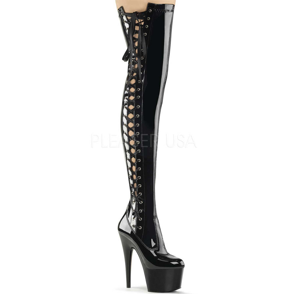 Black Patent Lace Up Stretch Thigh High Boots Platform Exotic Dancing Stripper