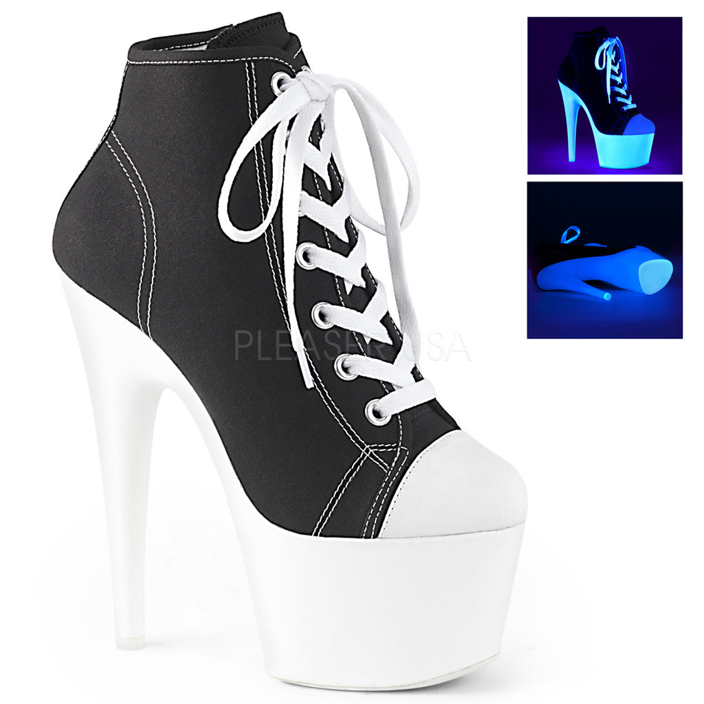 Black Canvas Blacklight Sneaker Shoes Platform Stripper Exotic Dancing High Heel