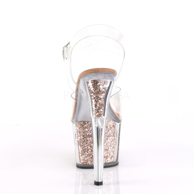 Clear Rose Gold Glitter Platform Ankle Strap Sandal Stripper High Heel Shoes