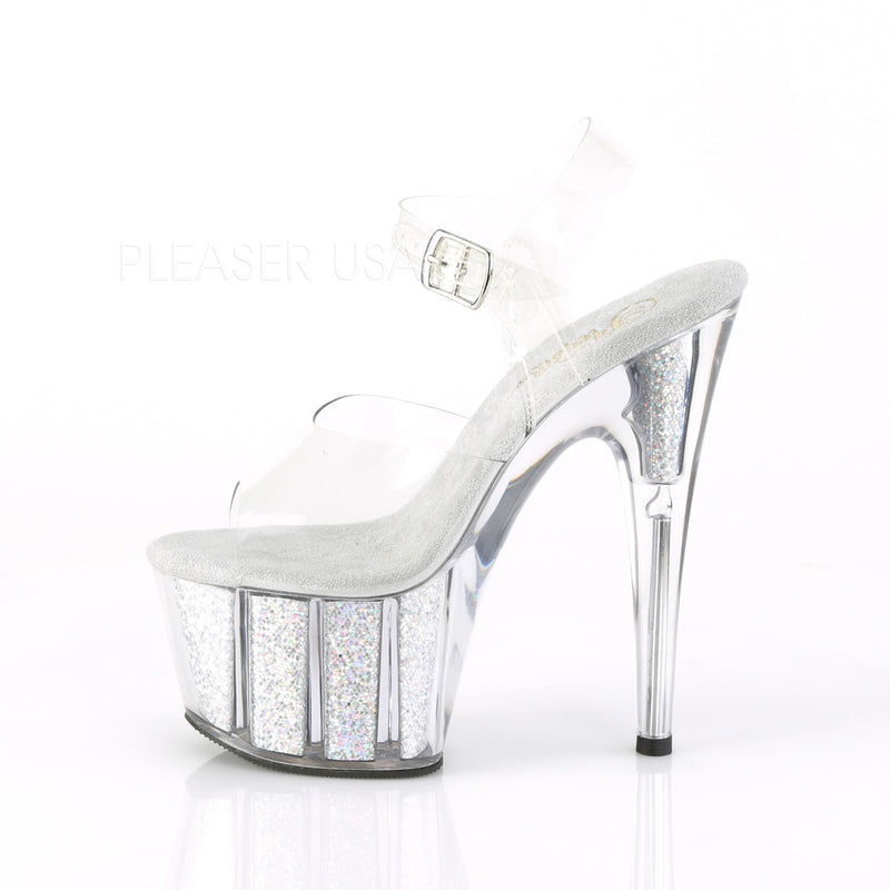 Clear Silver Multi Glitter Platform Ankle Strap Sandal Stripper High Heel Shoes