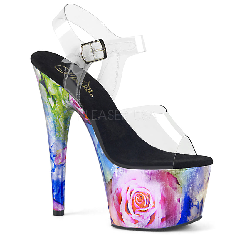 Clear Metallic Multi Rose Platform Ankle Strap Sandal Exotic Clubwear High Heel