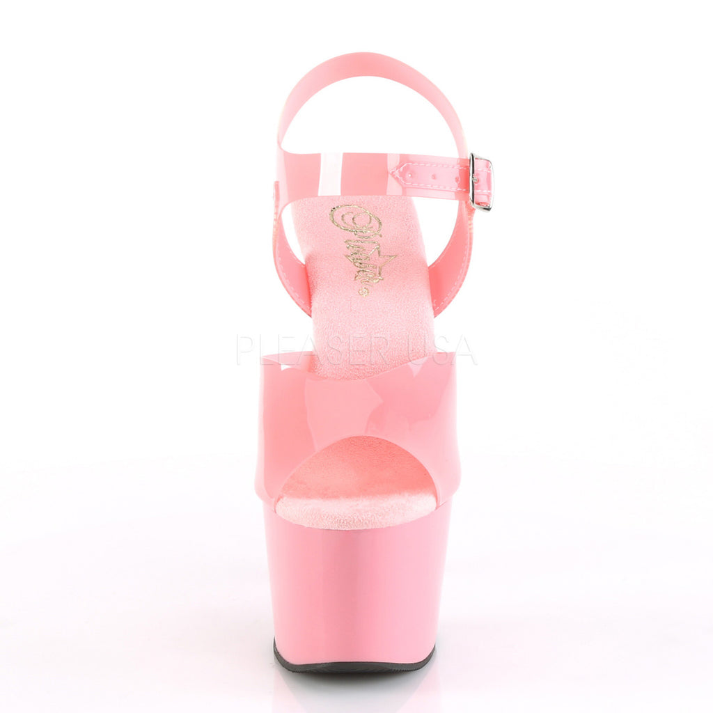Baby Pink Jelly TPU Ankle Strap Sandal Platform Pole Dancer Clubwear High Heel