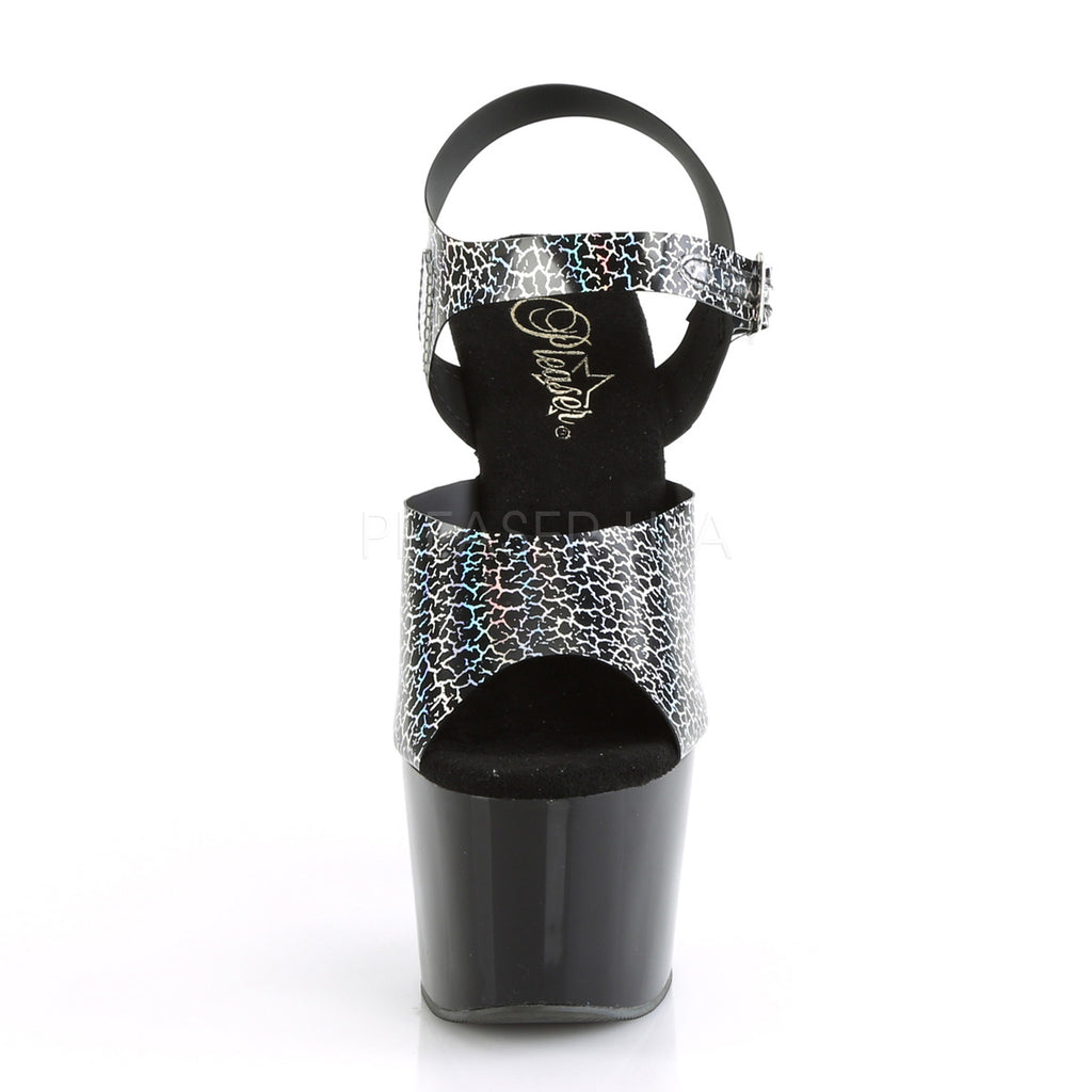 Black Cracker Hologram TPU Ankle Strap Sandal Platform Exotic Clubwear High Heel