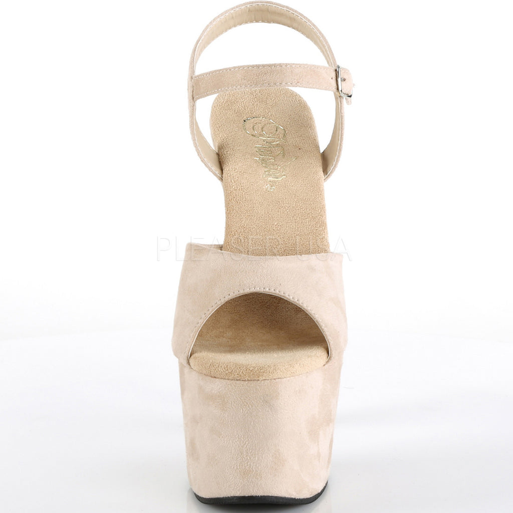 Beige Suede High Heels Ankle Strap Wrapped Platform Stiletto Womens Sandals Shoe