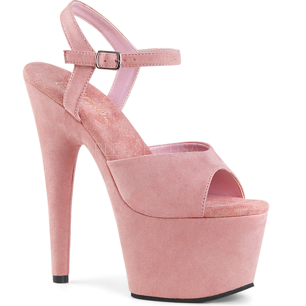 Baby Pink Suede High Heels Ankle Strap Wrapped Platform Stiletto Womens Sandals