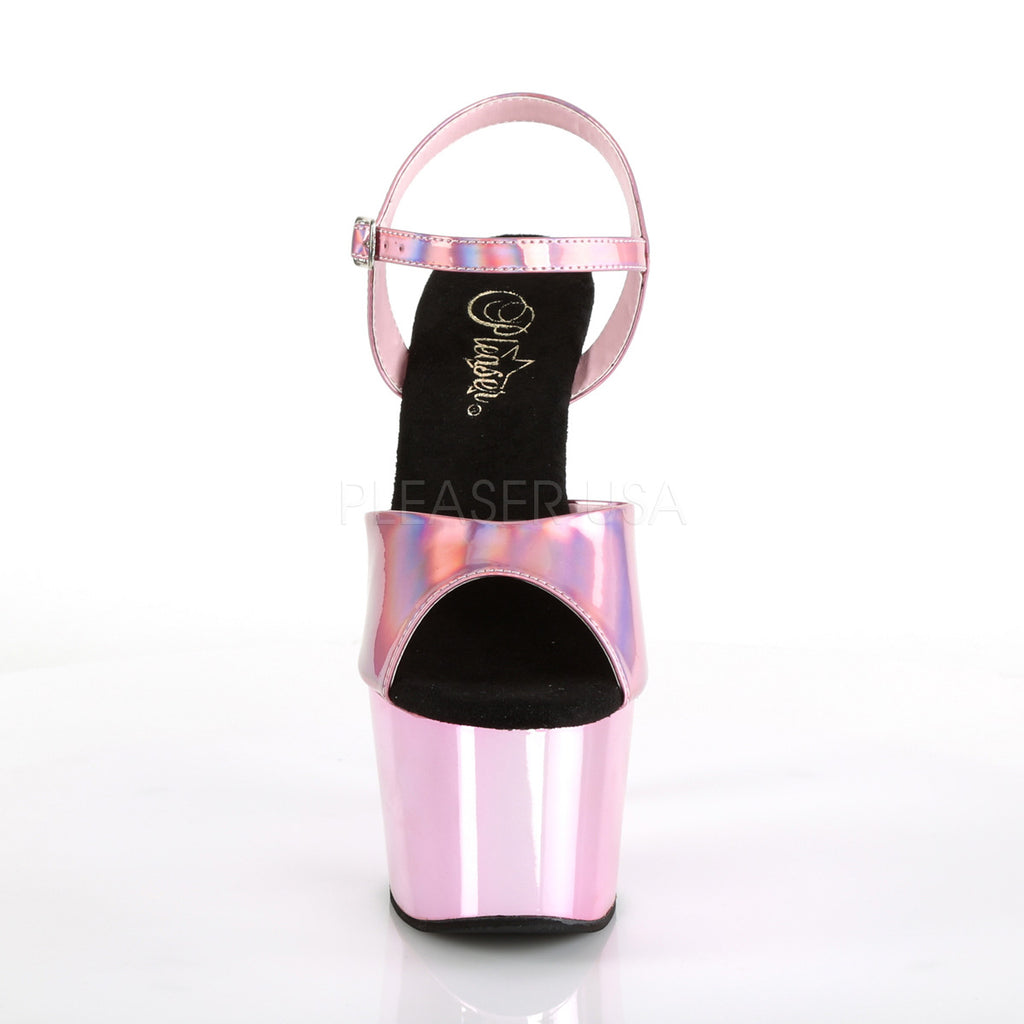 Baby Pink Hologram Chrome Platform Ankle Strap Sandal Dancer Shoes High Heels