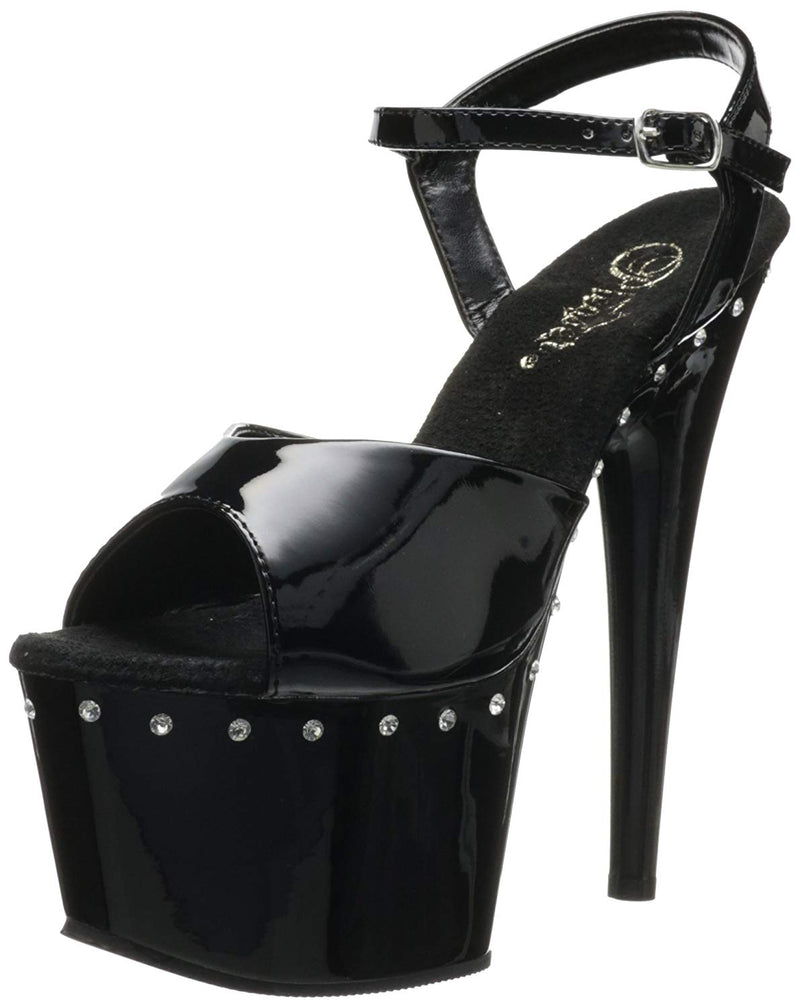 Black High Heel Stiletto Ankle Strap Sandal Rhinestone Platform Pleaser Stripper
