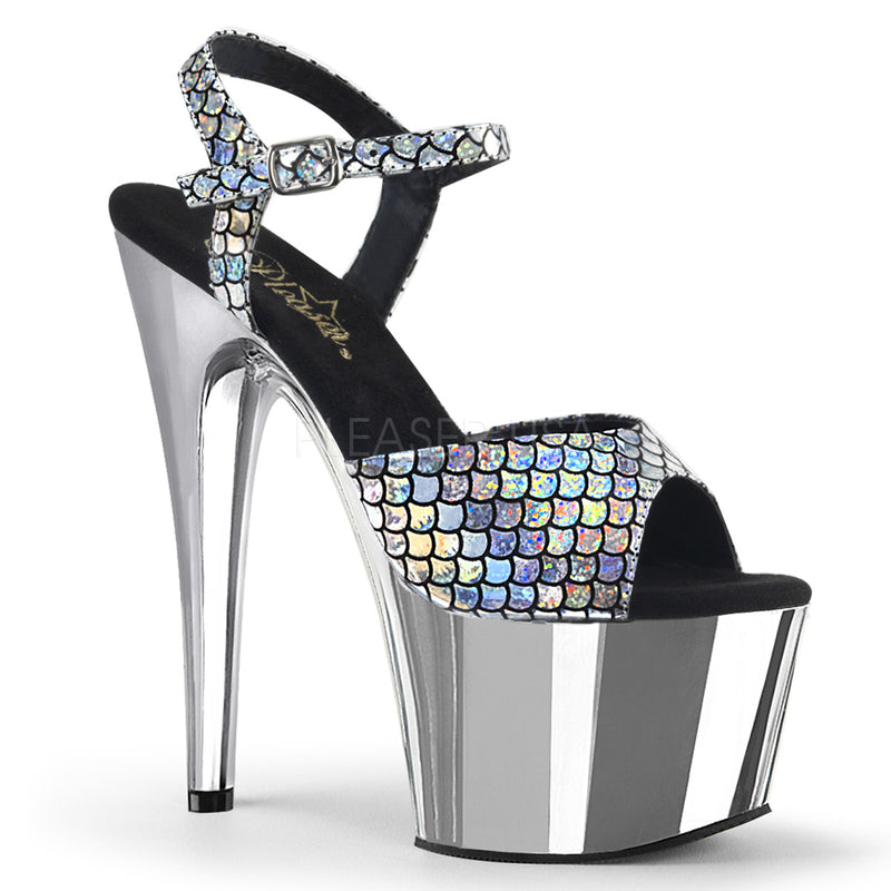 Silver Hologram Mermaid Scale Ankle Strap Sandal Chrome Platform High Heel Shoes