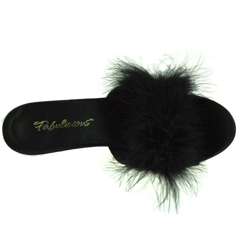 Black Satin Womens Slipper Mule Marabou Fur Party Prom Bridal High Heel Shoes