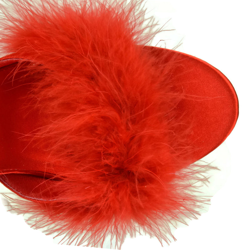 Red Satin Womens Slipper Mule Marabou Fur Party Prom Bridal High Heel Shoes