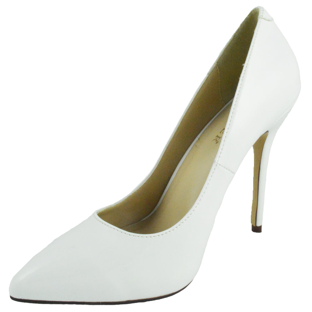 White Patent Classic Pumps Single Sole Dressy Formal Office High Heels Shoes
