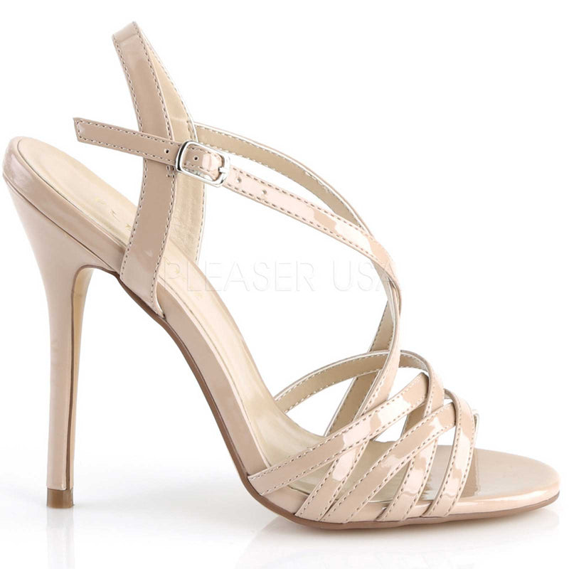 Nude Women Criss Cross Ankle Strap Sandal High Heel Stiletto Dress Shoe Pleaser