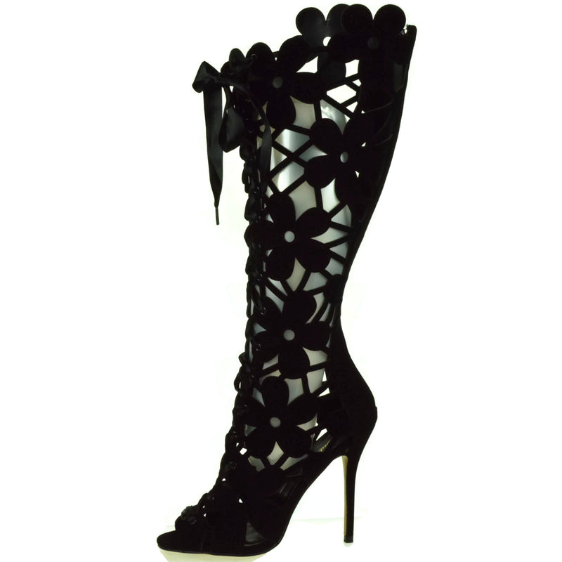 Black Velvet Lace Up Knee High Boots Floral Cutout Open Toe Party Prom Bridal