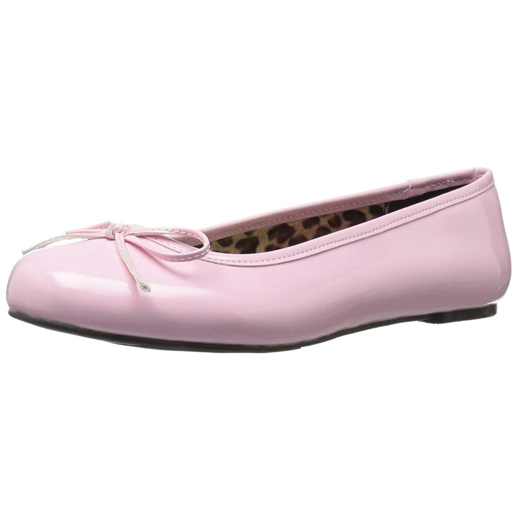 Baby Pink Patent Womens Ballet Flats Bow Accent Classic Shoes Queen Larger Sizes