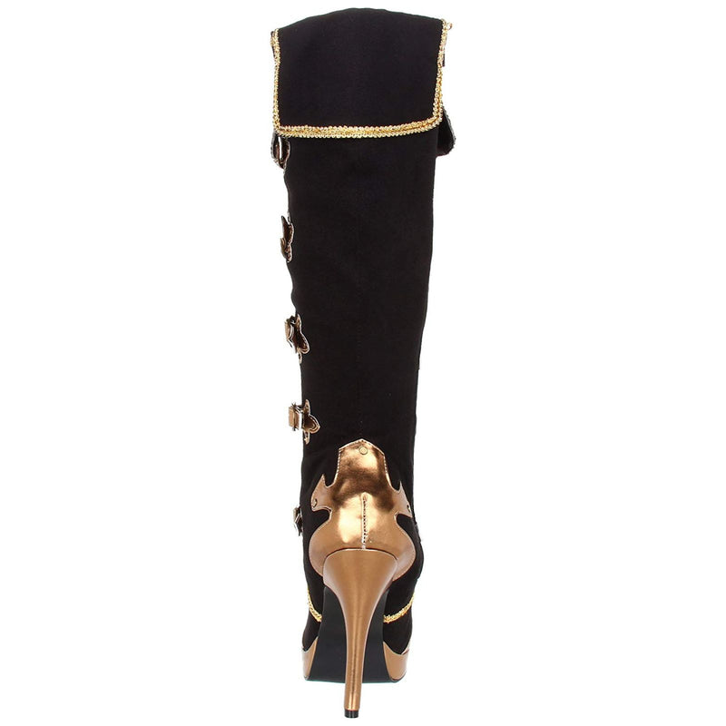 Black Gold Steampunk Victorian Pirate Knight Musketeer Costume Knee High Boots