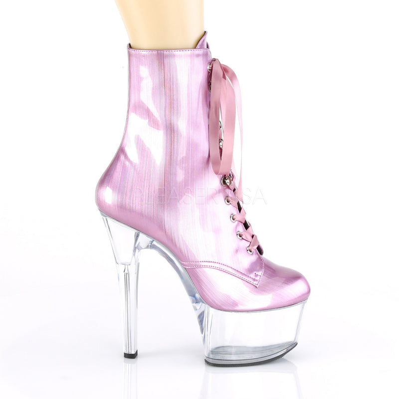 Baby Pink Hologram Ankle Boots Platform Stripper Sexy Exotic Dancing Clubwear