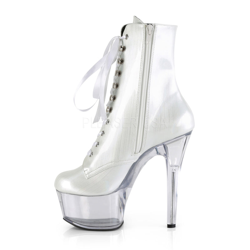 White Hologram Ankle Boots Platform Stripper Sexy Exotic Pole Dancing Clubwear