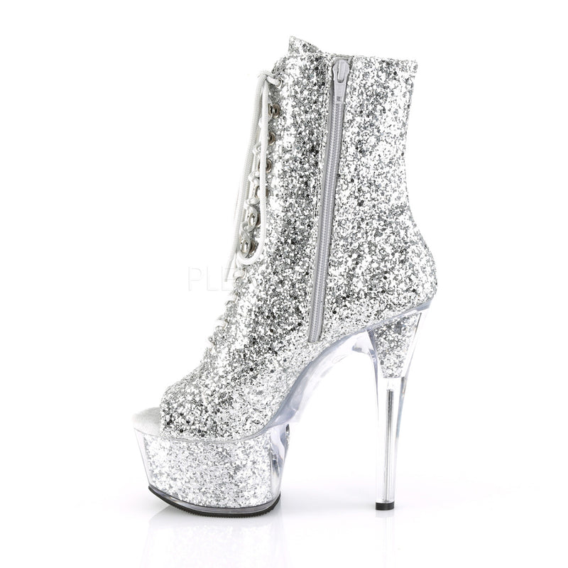 Silver Glitter Ankle Boots Platform Stripper Sexy Exotic Pole Dancing Clubwear