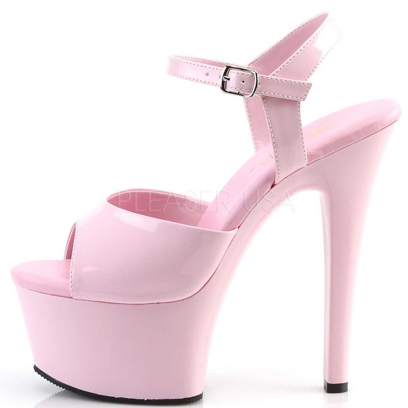Baby Pink Patent Ankle Strap Sandals Exotic Clubwear High Heels Platform Shoes