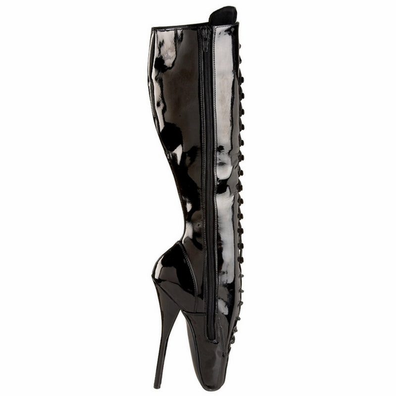 Black Patent Spike Heels Fetish Lace Up Knee High Boots DEVIOUS BALLET-2020
