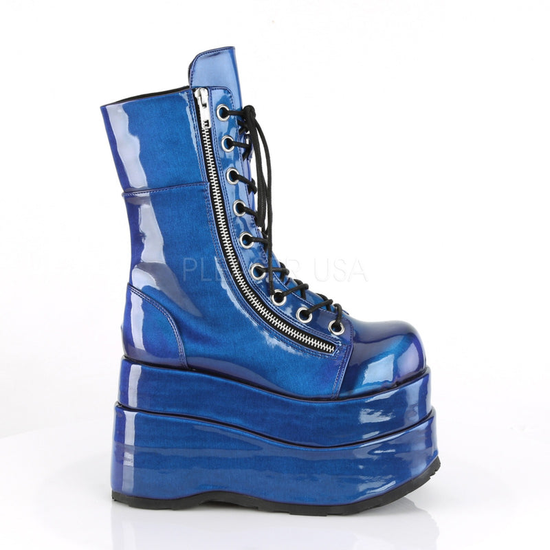 Blue Purple Wedge Platform Mid Calf Rave Boot Punk Rock Festival Demonia