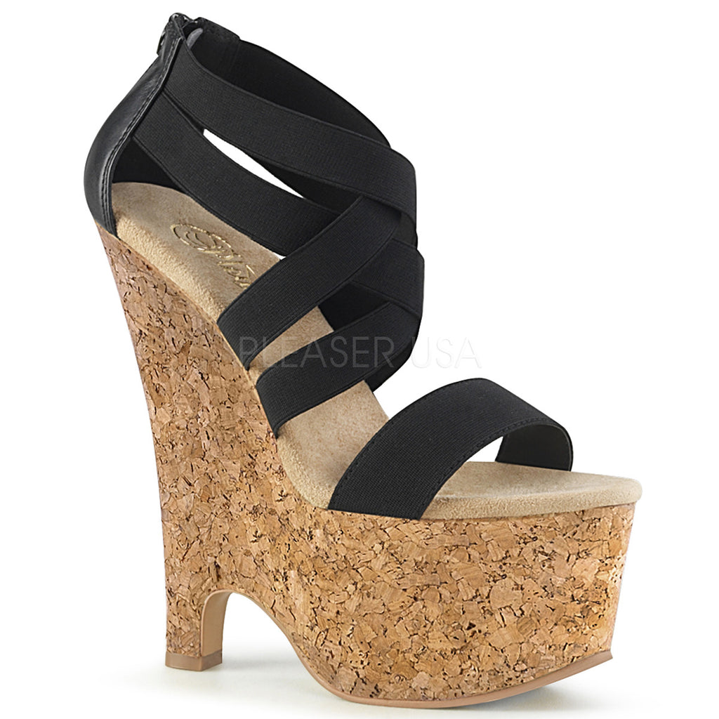 Black Elastic Band Cork Wrap Platforms Criss Cross Wedge Sandal High Heels Shoes