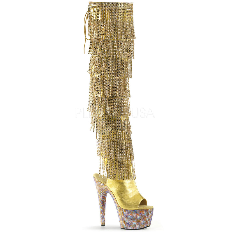 Gold Rhinestone Fringe Thigh High Boots Platform Stripper Exotic Pole Dancing