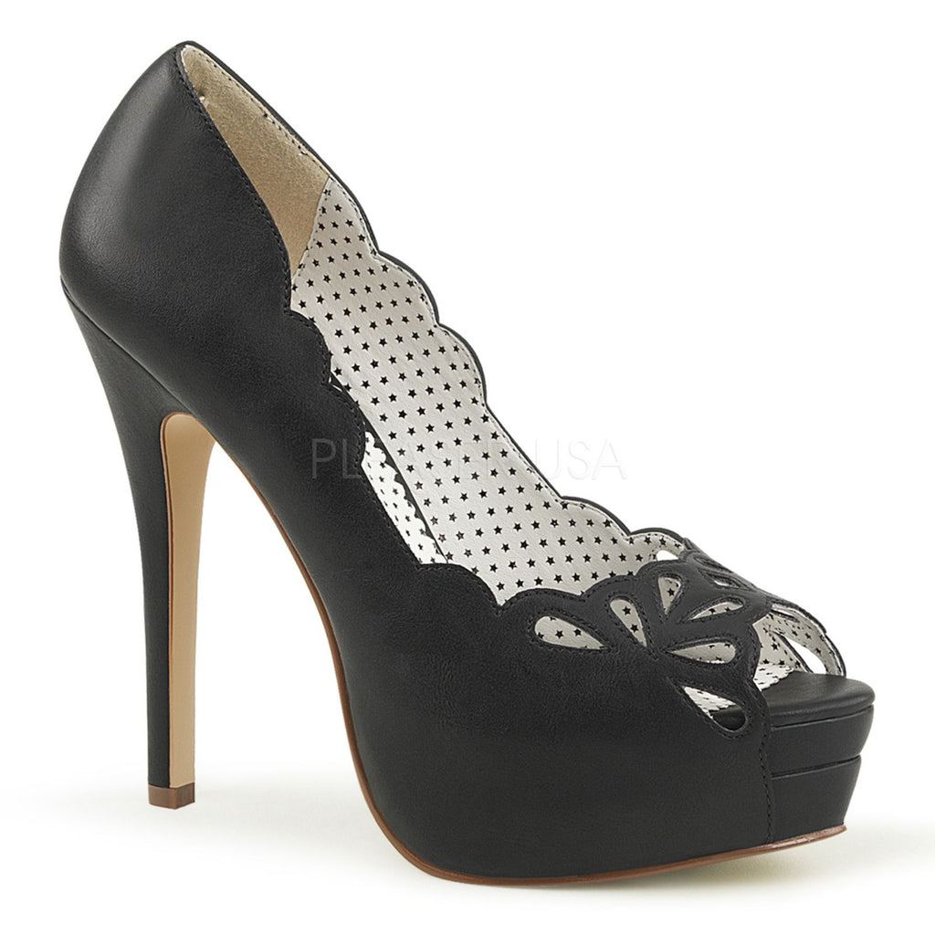 Black PU Classic Pumps Peep Toe Cut Out Dressy Formal Office High Heels Shoes