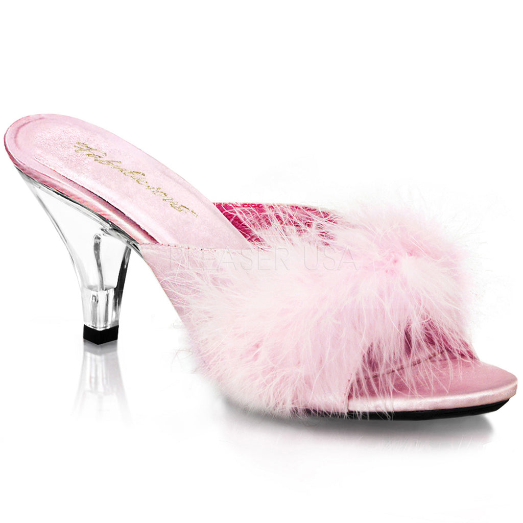 Baby Pink Marabou Feather Slippers Party Prom Bridal Slip On Slide Bedroom Shoes