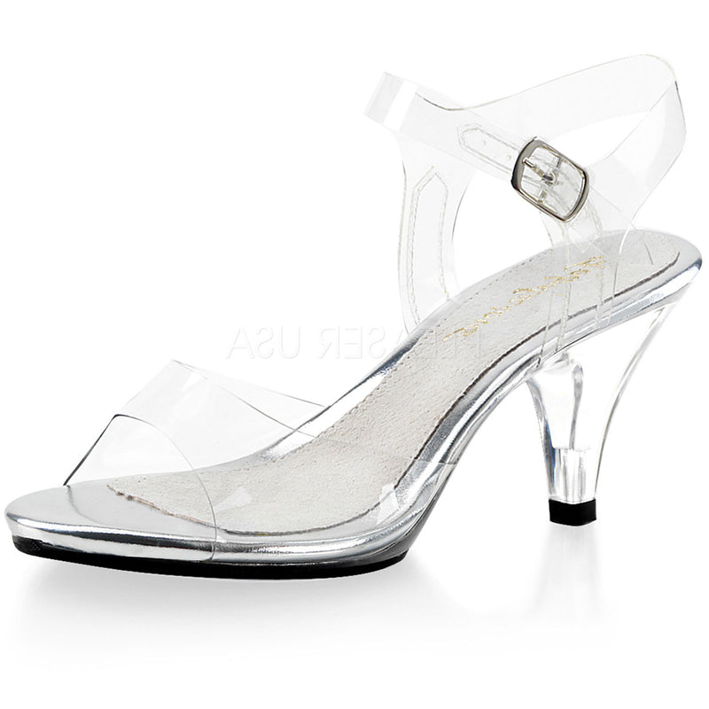Clear Basic Sexy Low Heel Sandals Pageant Heels PLEASER Shoes Glass Slippers
