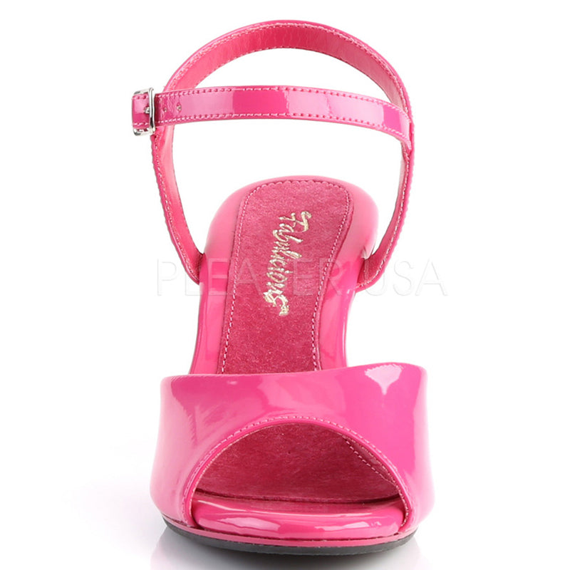 Hot Pink Patent Womens Formal Open Toe Ankle Strap Sandal Kitten Heel Work Shoes