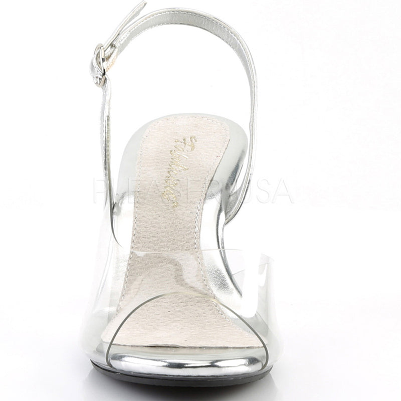 Clear Silver Slingback Sandals Platform Womens Party Prom Bridal High Heels Mini