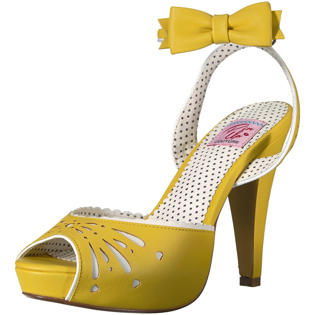 Yellow Retro Peep Toe High Heel Shoe Wrap Around Ankle Strap Platform Womens Bow